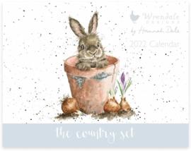 Wrendale Designs Country Set Landscape Calendar 2022 - Rabbit in Flower Pot