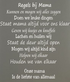 Regels bij Mama  Tekstbord