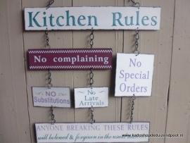 Tekstbord Kitchen rules