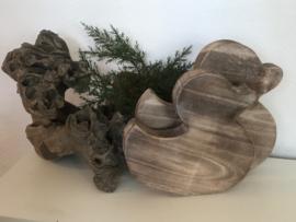 Setje houten eenden naturel  25 en 20 cm hoog
