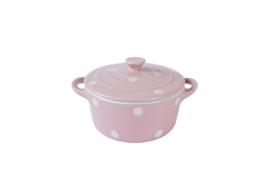 Pan met deksel Pink Polka dots 18x18x14 cm.