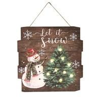 Tekst-Wandbord December  Let it Snow met LED 36 cm