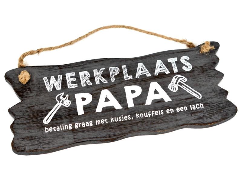 Tekstbord hangend 12 x 30 Werkplaats Papa