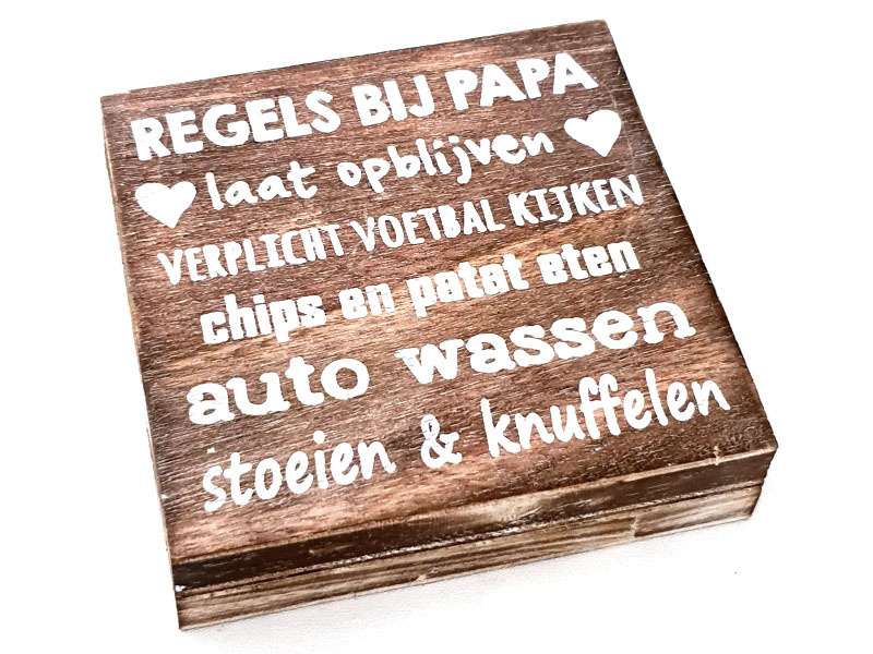 Tekstblok Naturel  15 x15 cm Regels bijPapa is...