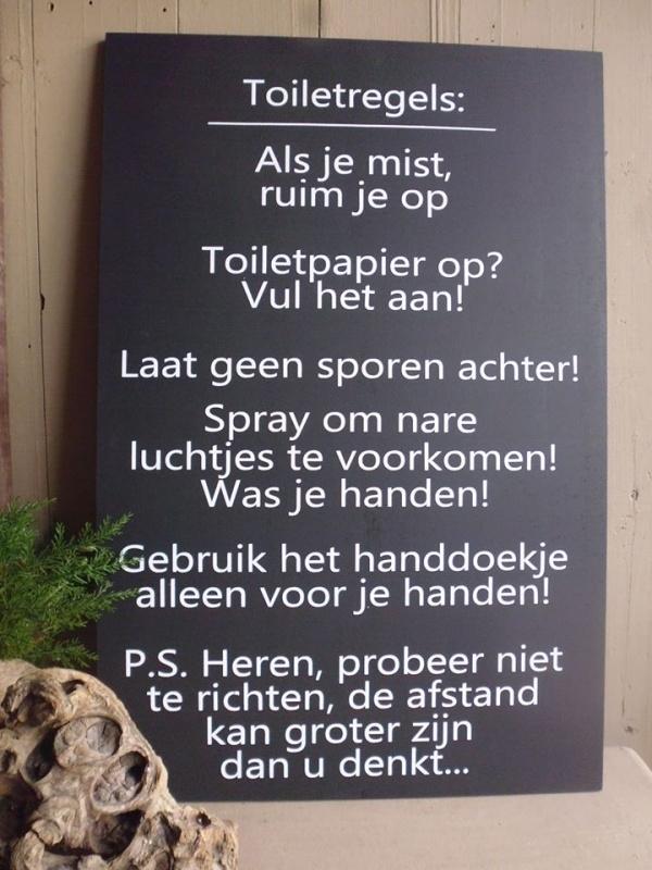 Toilet regels nederlands Tekstbord