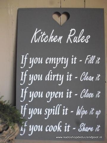 Kitchen rules Teksbord
