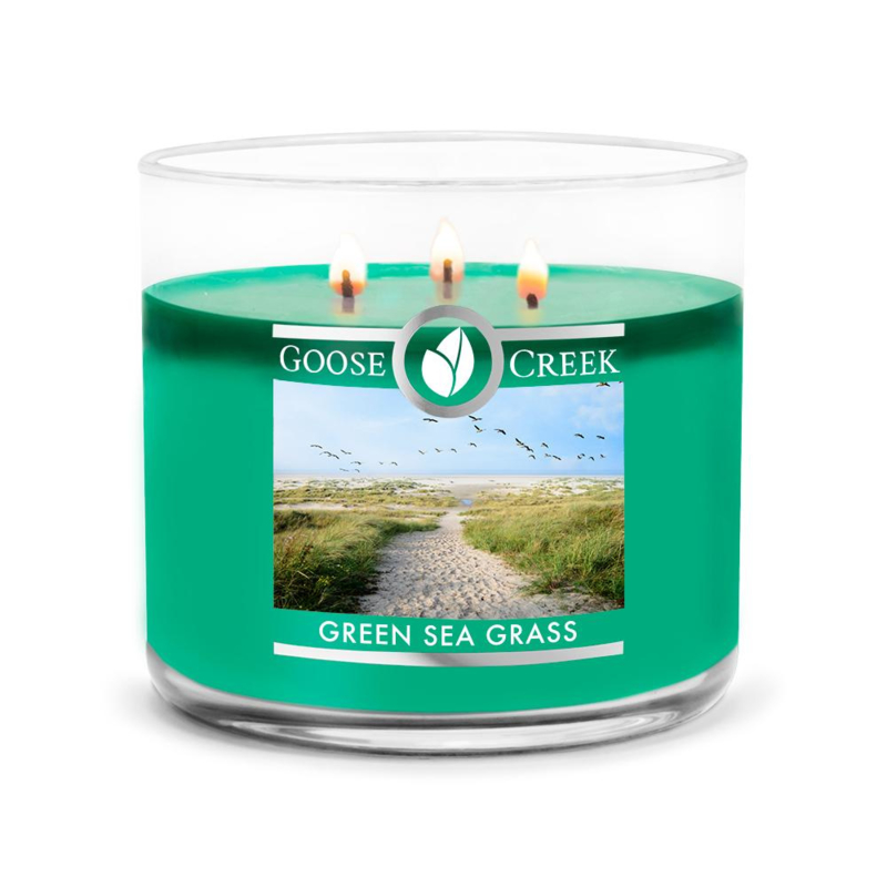 Green Seagrass Goose Creek Candle  3 Wick Soy Blend  Geurkaars