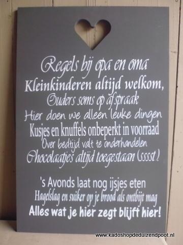Regels bij Opa en Oma 2 Tekstbord