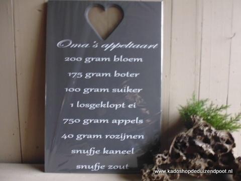 """Oma""""s Appeltaart Tekstbord"""