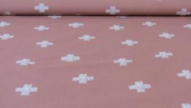 Stof oud roze met witte plusjes