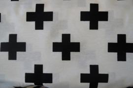 Stof wit met zwarte plus