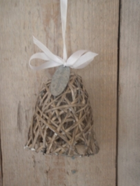 Kerstklok grijs riet (11 cm)