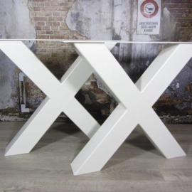 Industrieel tafelonderstel X-poot Zwaar WIT