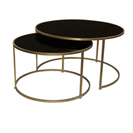 Salontafel Miyo Black glass (gold)
