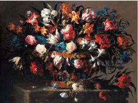 Klein mandje bloemen