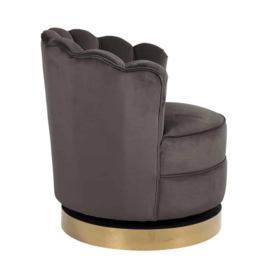 Draai fauteuil Mila velvet Stone