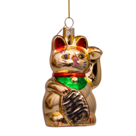 Vondels kersthanger lucky cat goud