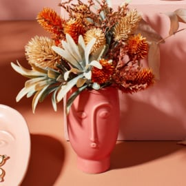 Mini face vase matt red