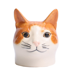 Quail cat red/white egg cup