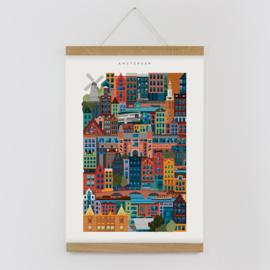 The City Work Amsterdam block print A3