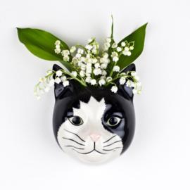 Quail cat black/white wall vase