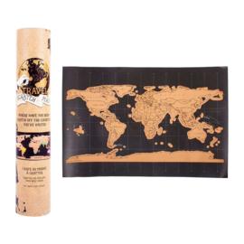 Scratch world map zwart/bruin A4