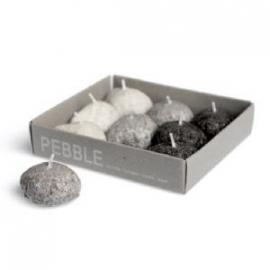 Pebble `steen` kaars XS 9 stuks