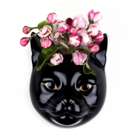 Quail cat black wall vase S