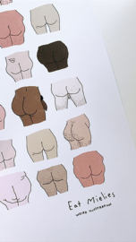 Eat Mielies A4 cute butts poster