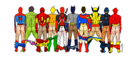 "Art wow ""Superhero butts "" mok"