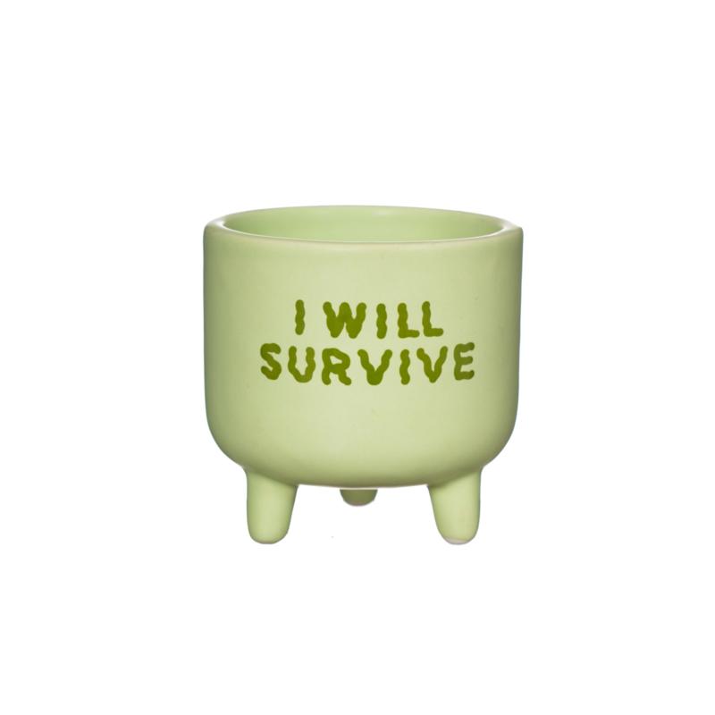 Mini plantenpot 'I will survive'