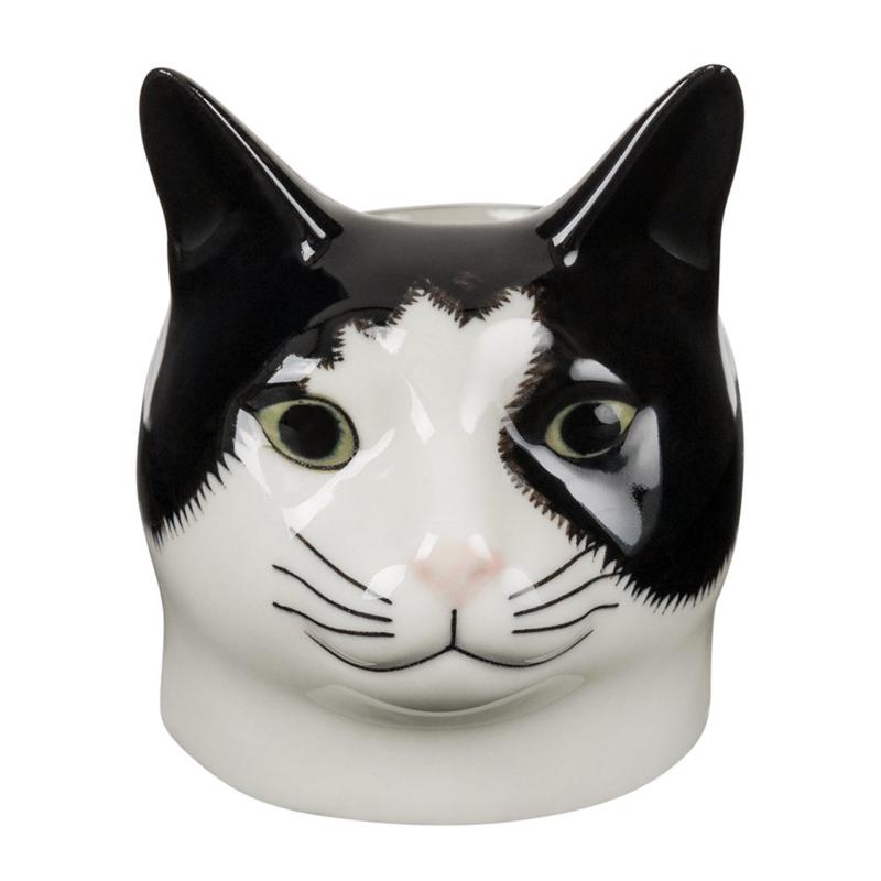 Quail cat black/white egg cup