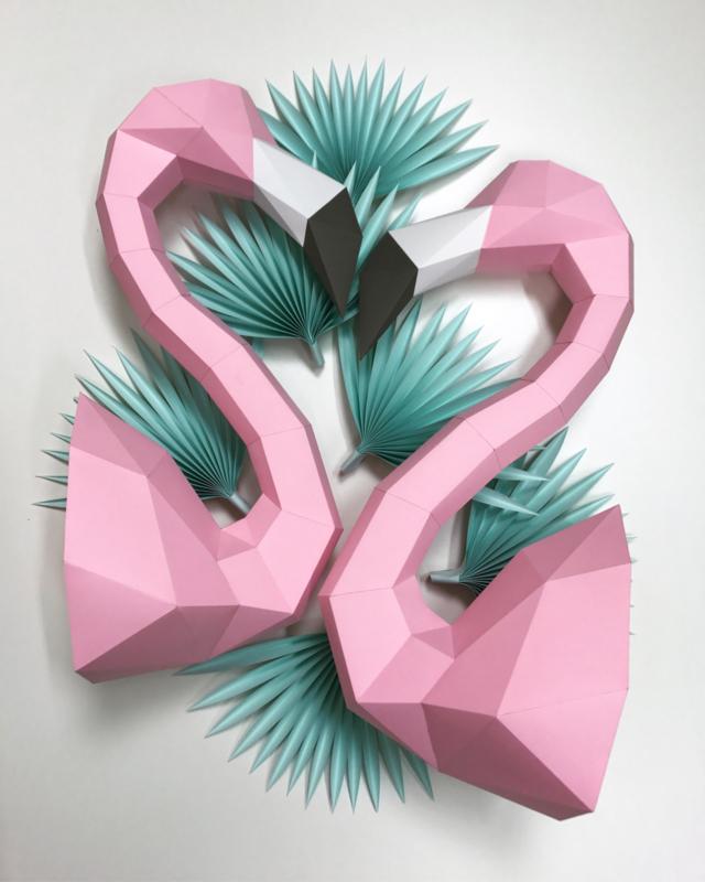 Assembli papieren Flamingo's (2 kleuren)