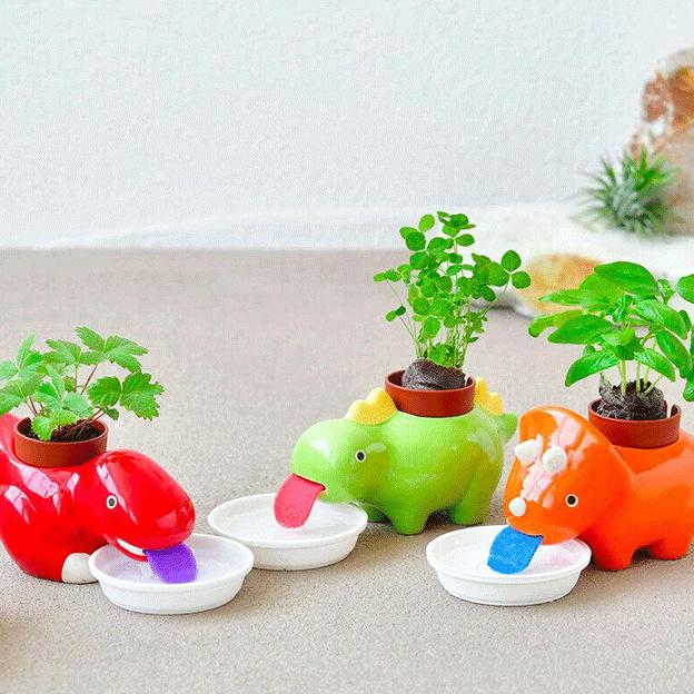 Zelfwaterende plantenpot dinosaurus