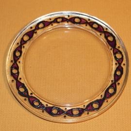 Glazen onderzetter, zwart met paars