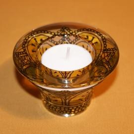 Kandelaartje omkeerbaar, voor theelicht of dinerkaars, zwart en geel