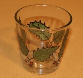 Glaasje voor theelichtje, groene hulst