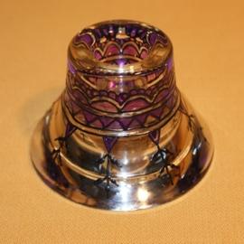 Kandelaartje omkeerbaar, voor theelicht of dinerkaars, zwart en paars