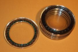 Set van 6 glazen onderzetters, zwart en turkoois