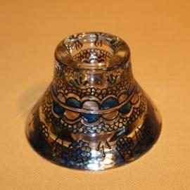 Kandelaartje omkeerbaar, voor theelicht of dinerkaars, zwart en turkoois
