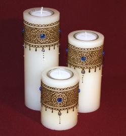 Set van 3 kaarsen in verschillende hoogtes