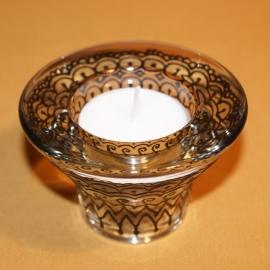 Kandelaartje omkeerbaar, voor theelicht of dinerkaars, zwarte glasverf