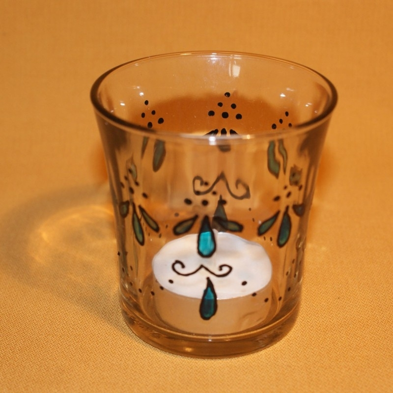 Glaasje voor theelichtje, zwart met turkoois