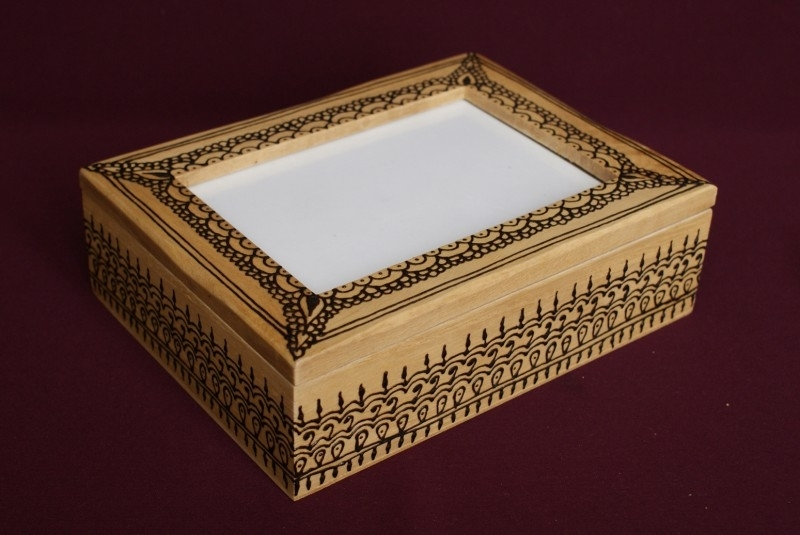 Kistje met fotoruimte in deksel, 15 x 20 x 6 cm