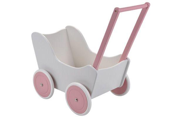 Poppenwagen  Wit / Roze