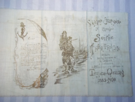 Met goud op stof gedrukt 37-23 cm. het theater programma over de 25 jaar geleden veldslag  1885- 1910  TUYEN-QUANG  Soiree Theatrale van het 1e Regiment legion Etrangere Vreemdelingen legioen zeer zeldzaam en apart.
