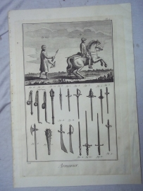 Original old lithography of old armour. Oude steendruk op geschept papier omstreeks 1750. over bewapening.