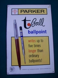 Tin billboard, Parker Pen with tax stamp. Blikken reclameplaat Parker Pen jaren 70