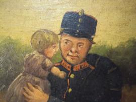 Geschilderd op paneel, Karikatuur van de Nederlandse Landwacht, Mobilisatie 1914, zeer leuke set.