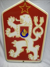 Czech wallsign enamel, of a fire station. Tsjechische geemailleerde plaat van een brandweerkazerne